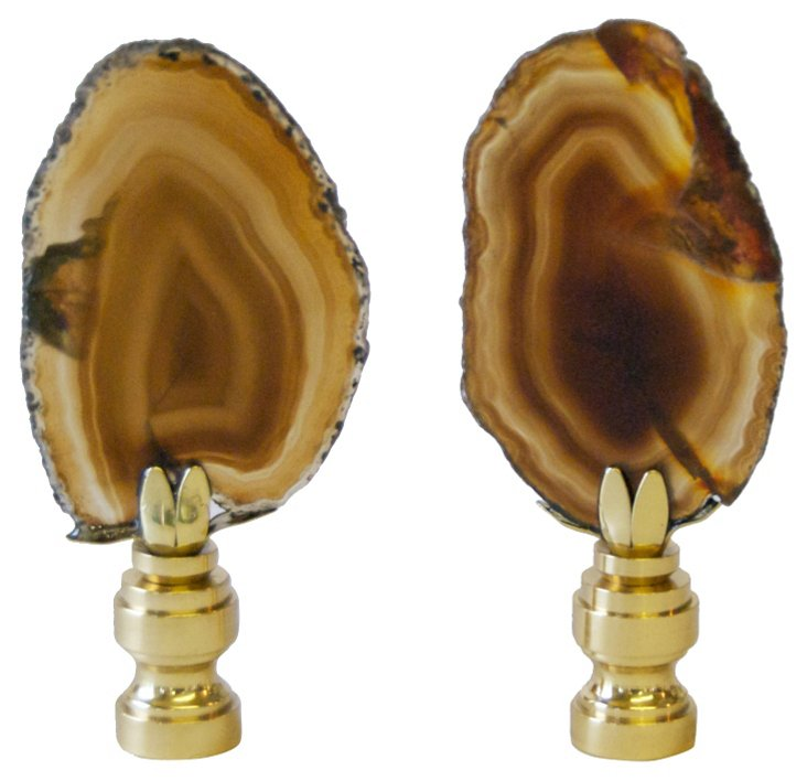 Agate Finials, Pair