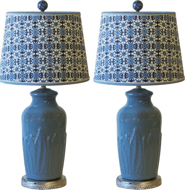Blue Ceramic Lamps & Batik Shades, Pair