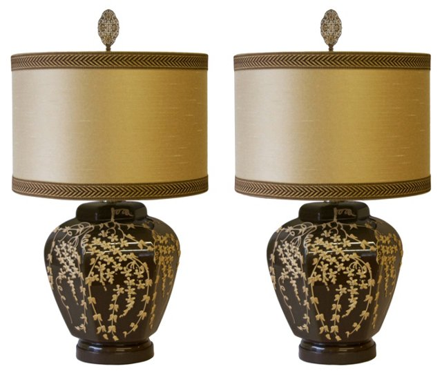 Dorothy Draper-Style Glass Lamps, Pair