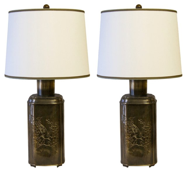 Brass Tea Canister Lamps, Pair