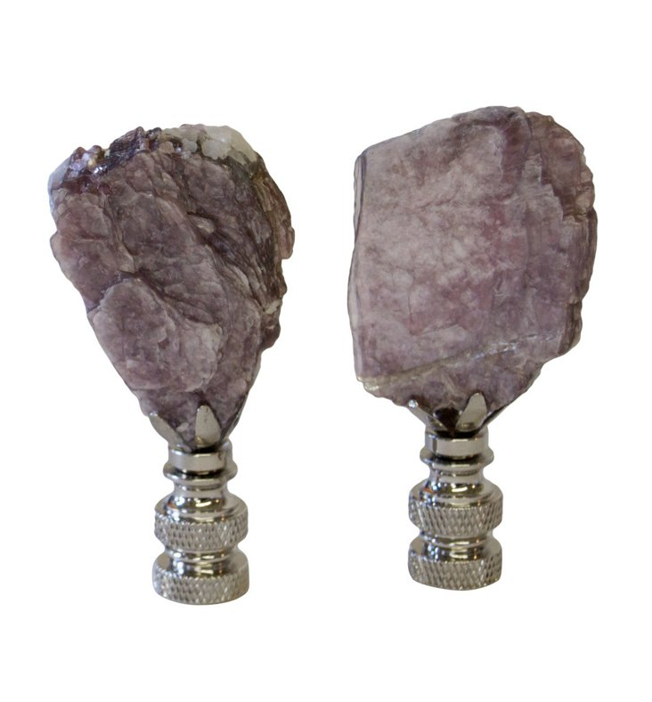 Lepidolite Lilac Mica Finials,    Pair