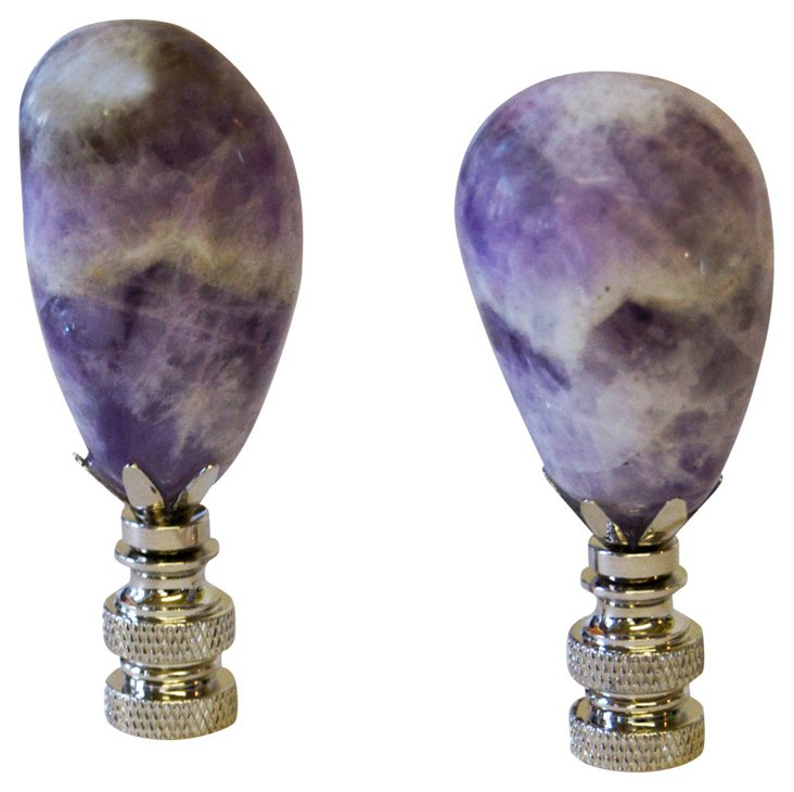 Chevron Amethyst     Finials, Pair