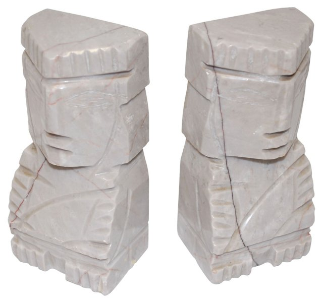 Gray Marble Aztec Bookends
