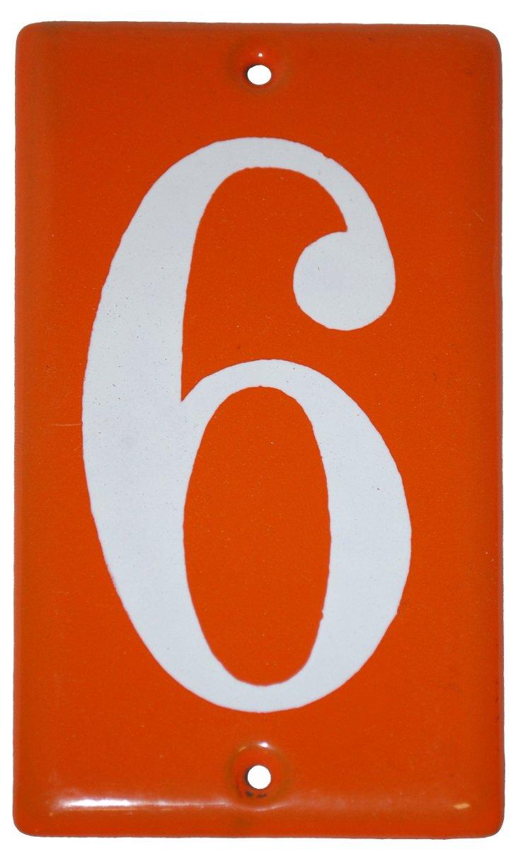1970s Orange Enamel #6 Sign