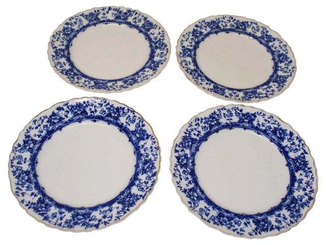 Royal Doulton Flow Blue Plates, S/4