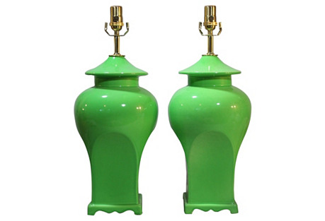 Haeger Lime Green Ginger Jar Lamps, Pair