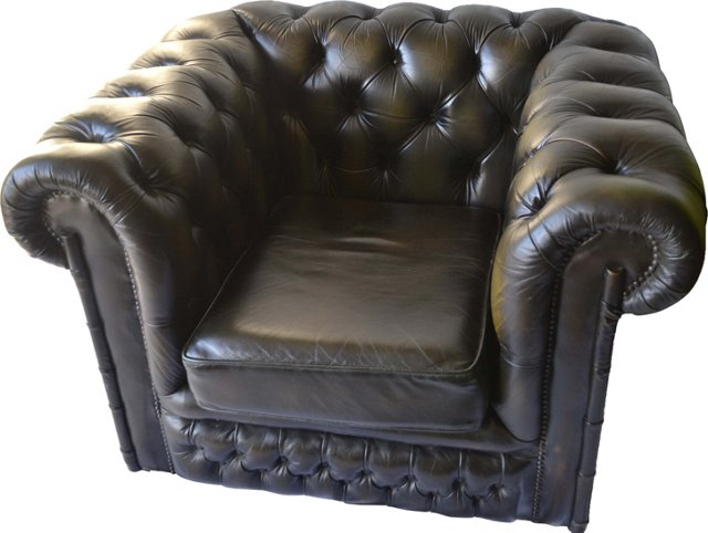 English Leather Chesterfield Armchair