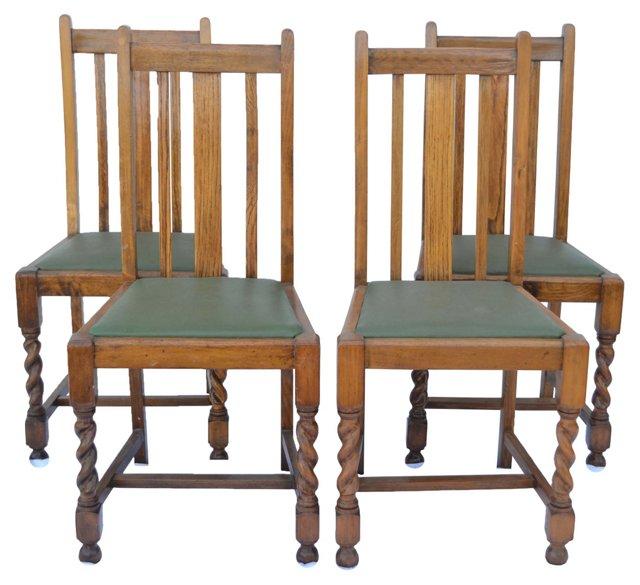 English  Barley-Twist Chairs, S/4