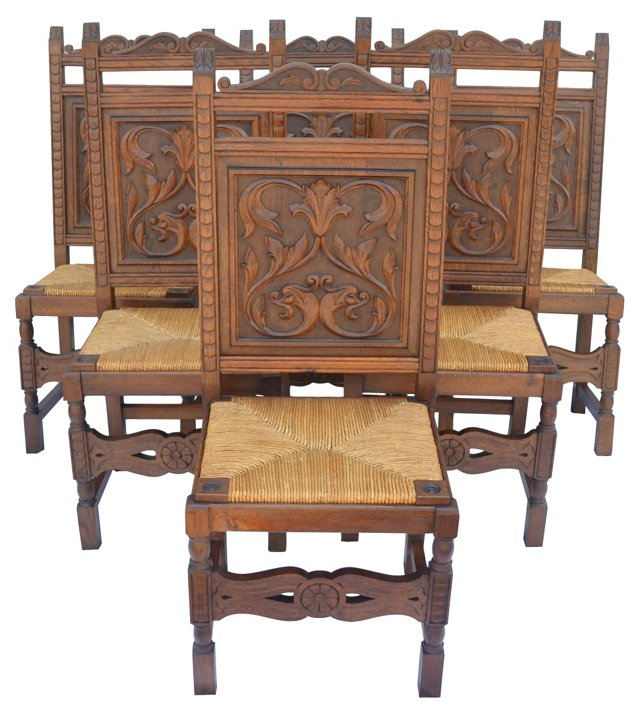 French Carved  Rush-Seat Chairs, S/6