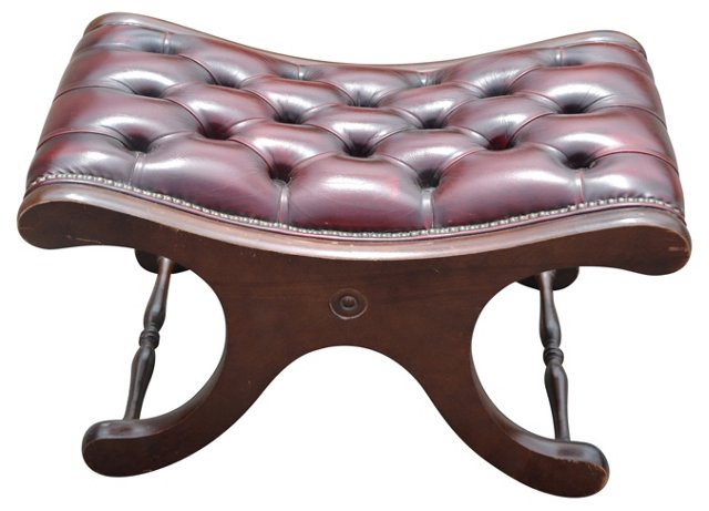 X-Frame Leather-Top Bench