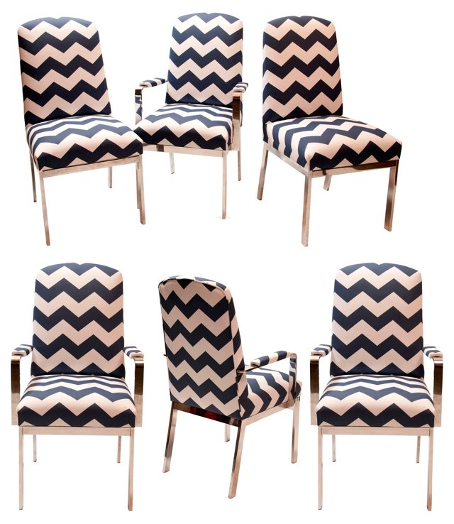 Chevron Dining Chairs, Set of 6