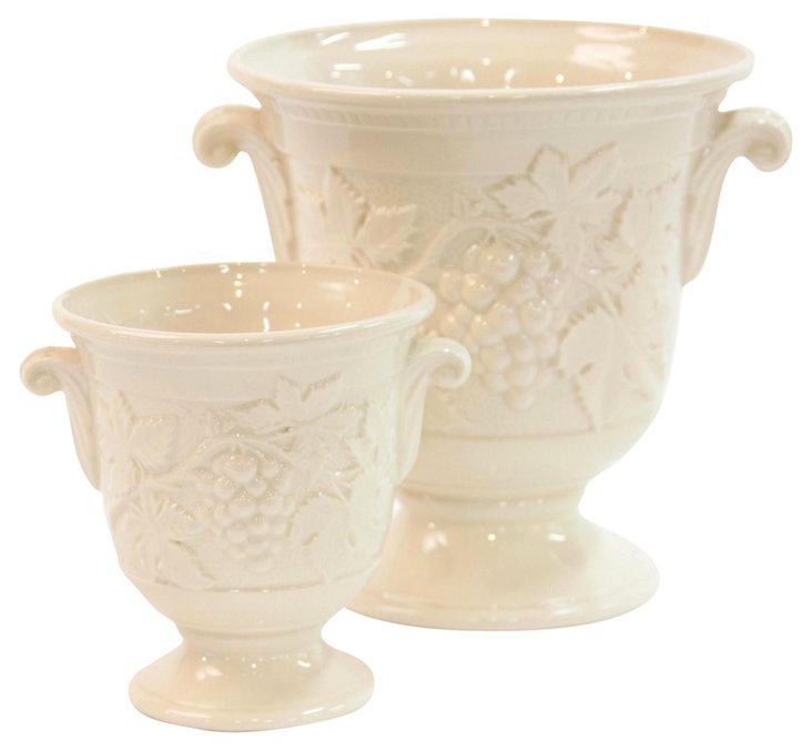 English Creamware Urns, Pair