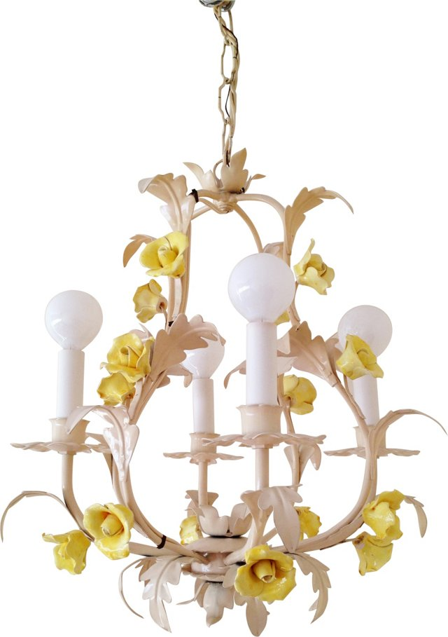 4-Arm Italian Tole Chandelier