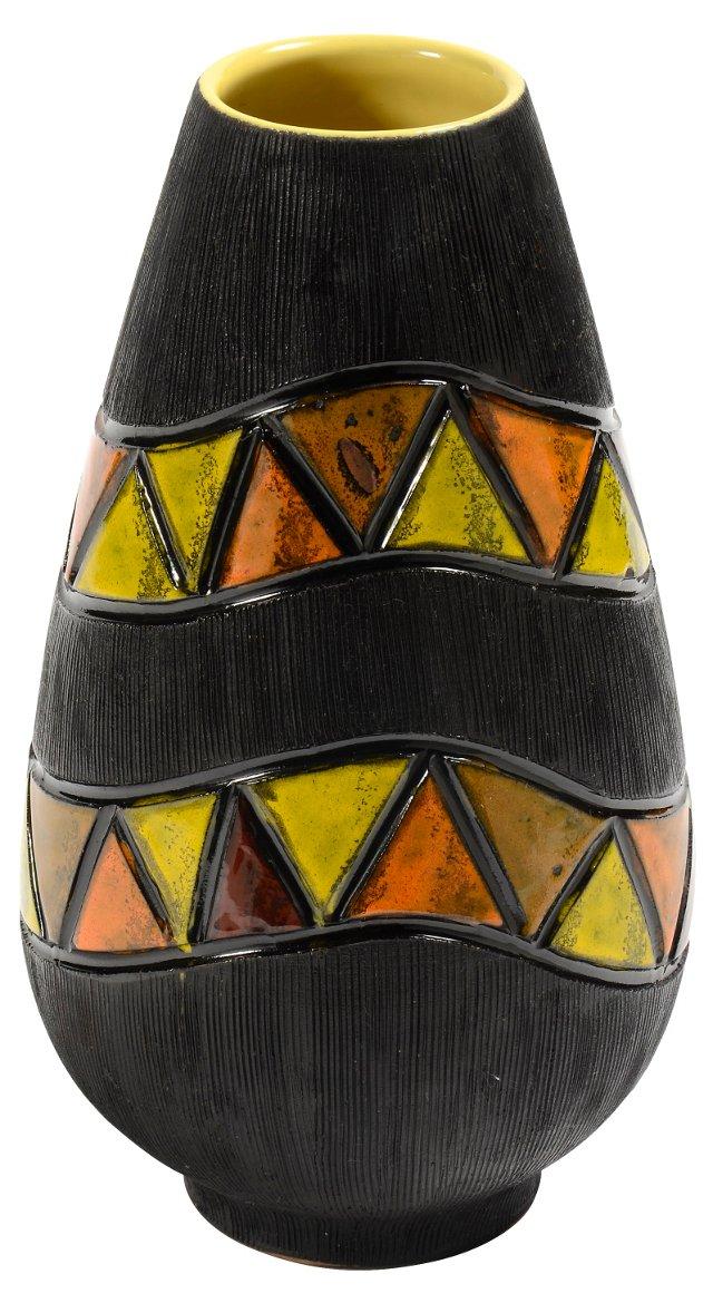 1960s Bitossi Black Ribbed Italian Vase