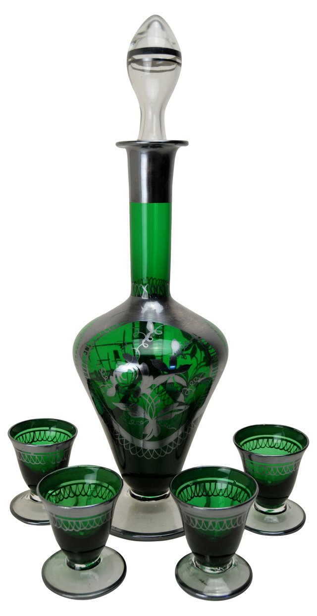 Emerald Drink Set, Svc. for 4