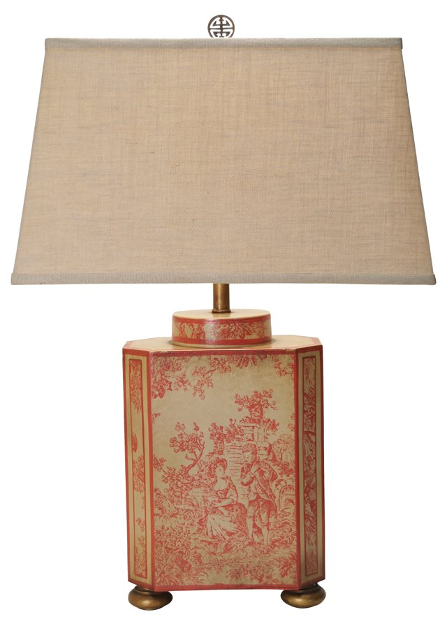 Hand-Painted Chinoiserie Toile Lamp