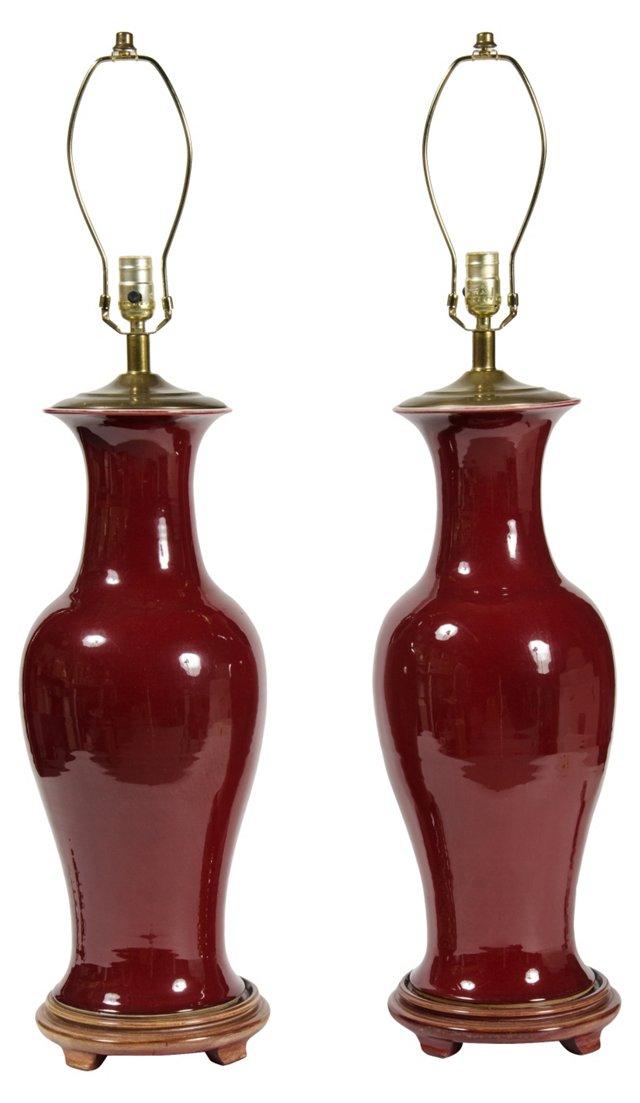 Oxblood Ceramic Lamps, Pair
