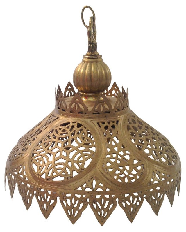 Reticulated Brass Pendant Light
