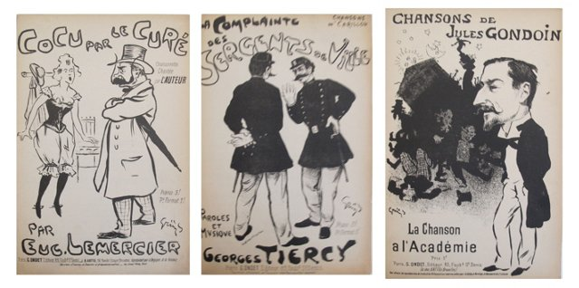French Music Sheets, Set of 3