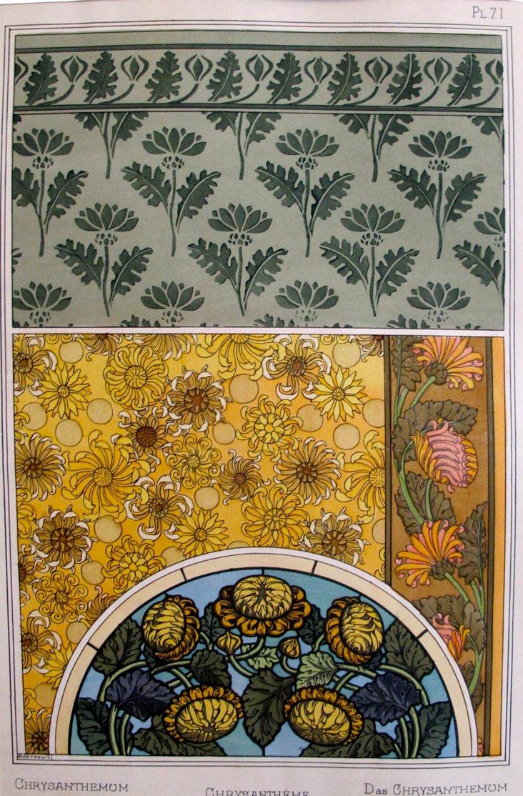 1920s French Chrysanthemum Pochoir