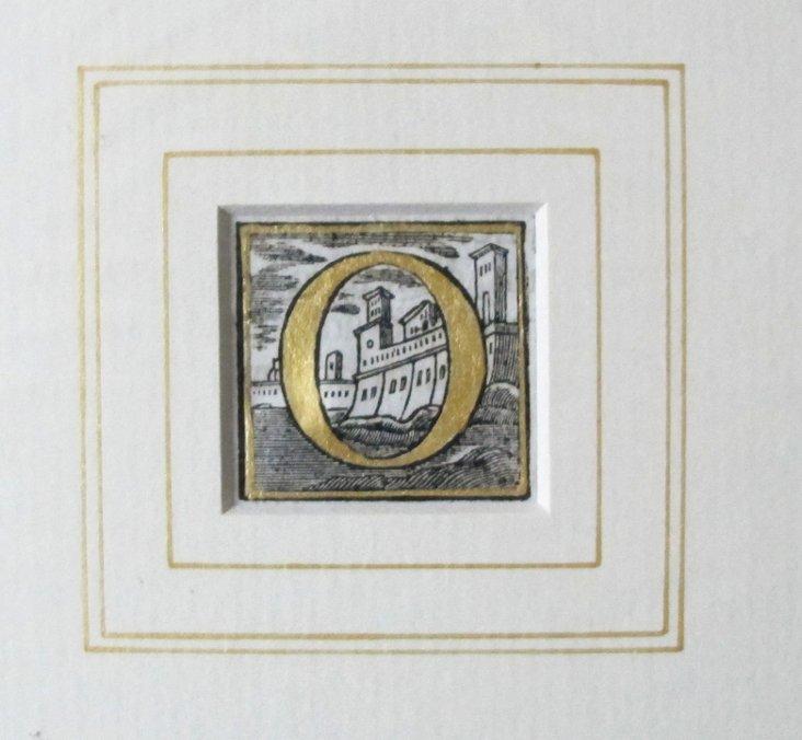 Italian Woodblock Letter O Print, 1765