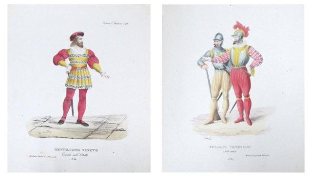 Italian Costume Caricatures, Pair
