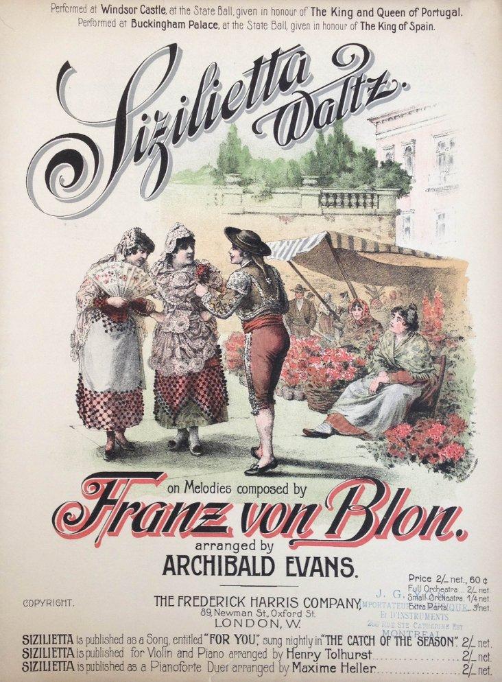Sizilietta Waltz Music Sheet, 1906