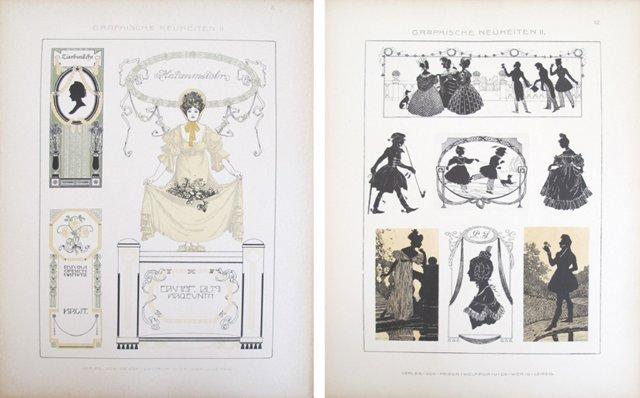 Art Nouveau Design Sheets, C. 1900, Pair