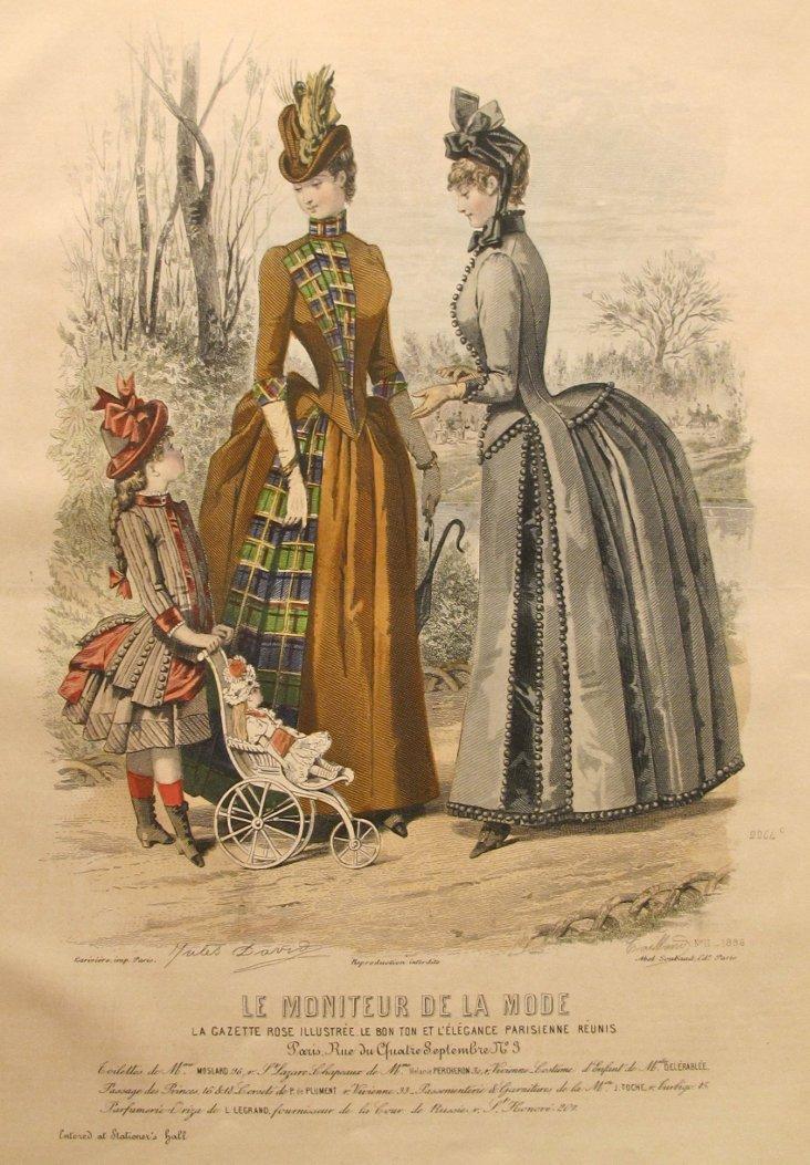 French Tartan Fashion Plate, 1885