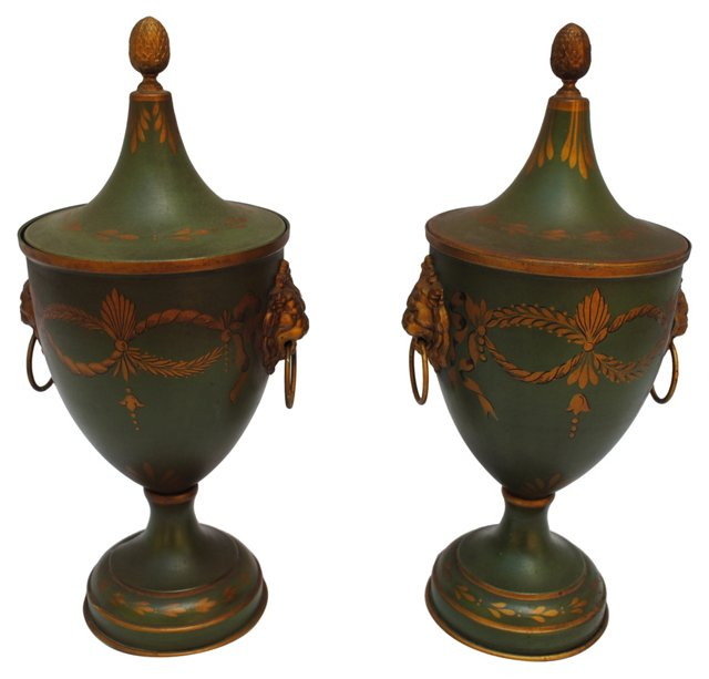 French Tole Urns, Pair