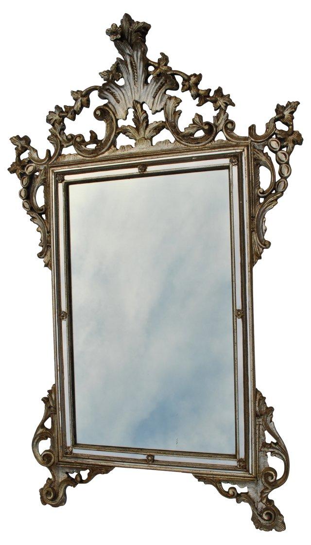 Italian  Silver Gilt Wood Mirror