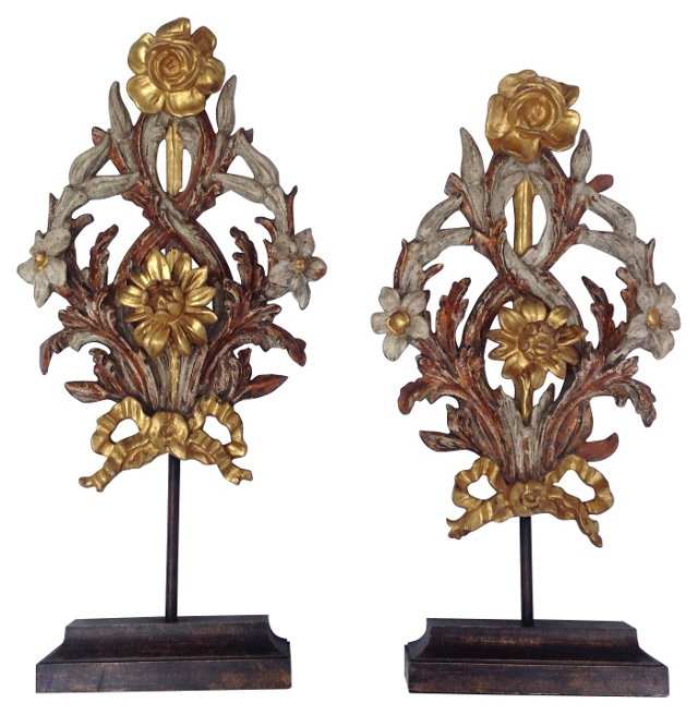 Italian Gilt Wood Fragments, Pair