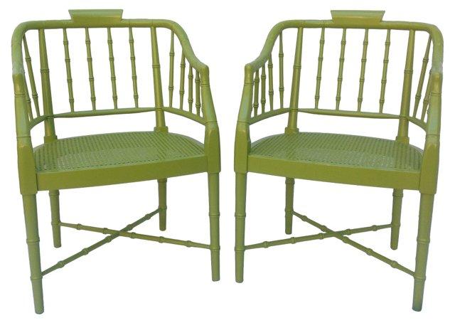 Faux-Bamboo Tub Chairs,  Pair
