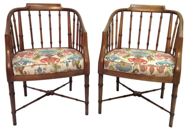 Midcentury Faux-Bamboo Tub Chairs, Pair