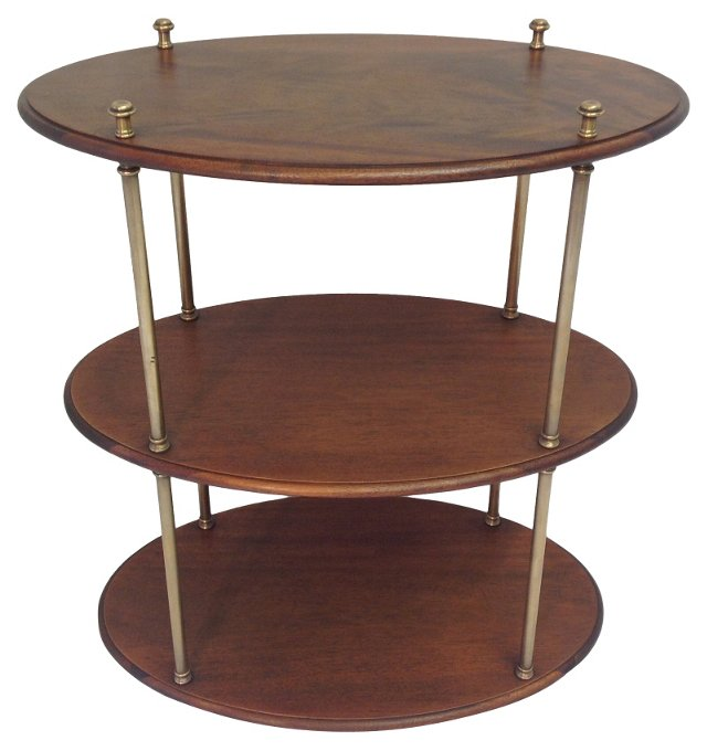 3-Tier Mahogany & Brass Table by Hickory