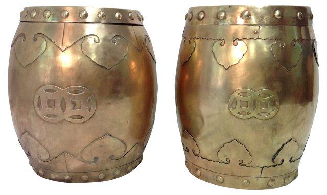 Chinese Brass Garden Stools, Pair