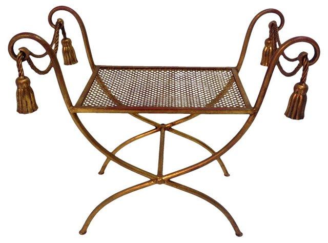 Italian Rope & Tassel-Motif Vanity Bench