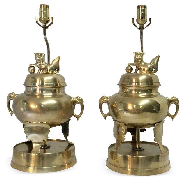 Brass Lamps w/Asian Motif, Pair