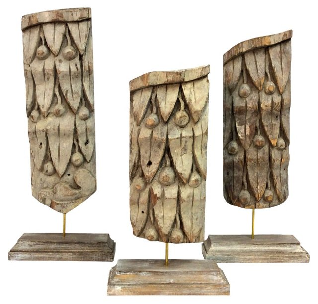 19th-C. French Pine Fragments, S/3