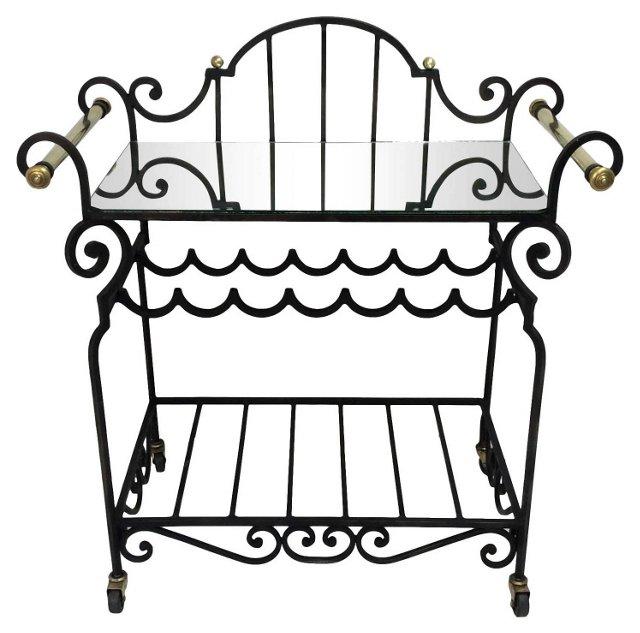 Wrought Iron  & Brass Bar Cart