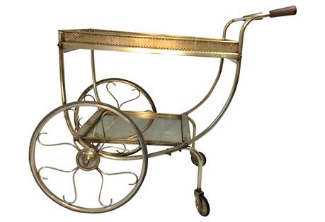 French Deco Brass Bar Cart w/ 2 Trays