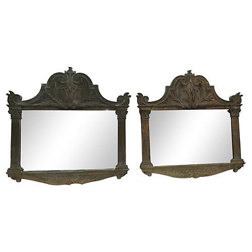 19th-C. Bronze Frames w/ Mirrors, Pair