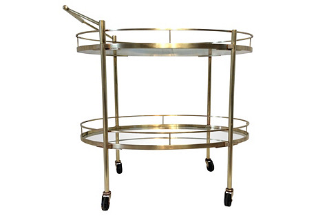 2-Tier Bar Cart w/ Removable Handle