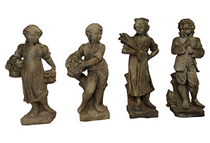 French Country Four Seasons Statues, S/4