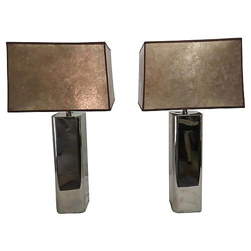 Modernist Chrome Lamps, Attr. to Laurel