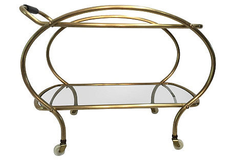 Art Deco Era Brass Bar Cart