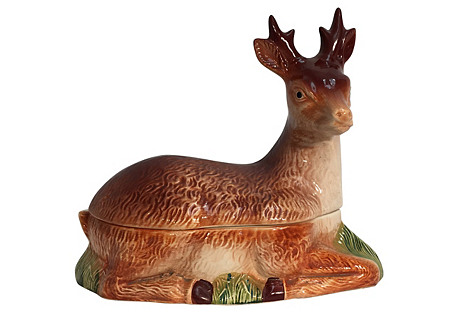 French Faience Pâté Server, Deer