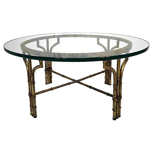 Italian Gilt Faux-Bamboo Coffee Table