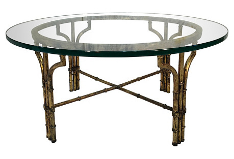 Italian Gilt Faux-Bamboo Coffee Table