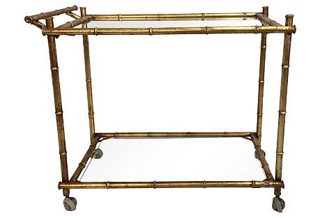 Italian Faux Bamboo Gilt Bar Cart